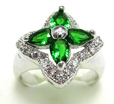 Women's Nice Fashion Jewelry 10KT White Gold Filled Emerald Ring Size:7 8 9