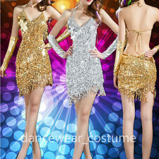 Sexy Ballroom Latin Salsa Dance Dress Ladies Sequins Fringe Tassel Skirt 4Colors
