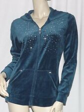 NEW Womens Sweatshirt STYLE & CO Teal Velour Embellished Hoodie Zip NWT