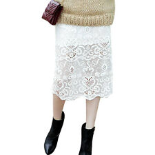 Women Elastic Waist Floral Novelty Embroidery Casual Lace Skirt