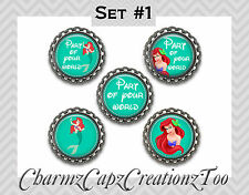 Bottle Cap Magnets/Set of 5/Disney Little Mermaid Inspired/Packaged/Ariel/#1