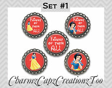 Bottle Cap Magnets / Set of 5 / Disney Snow White Inspired /Packaged Gift/Quotes
