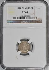1912 Canada Five Cents Silver NGC XF-40 Extra Fine 5c Coin