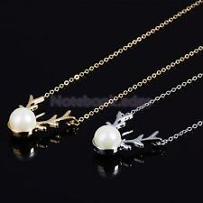 Boho Victoria Fashion Antler Faux Pearl Clavicle Chain Necklace Wedding Bridal