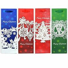 Christmas Wine Bottle Gift Bags, Decorated with Glitter Bottle Bag