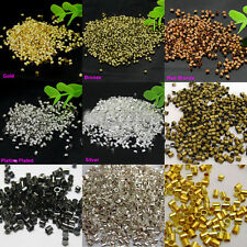 Wholesale 1000Pcs Silver/Gold Plated Tube Crimp Charms End Spacer Beads 2.0mm