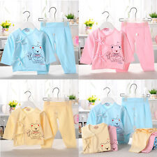 2Pcs Newborn Baby Clothes Girls Boys Tops + Pants Outfits Set Cartoon Homewear