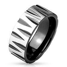 Black Stainless Steel Men's Faceted Groove Pattern Ring Size 9-13