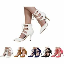 NEW LADIES  WOMENS LACE UP CUT OUT HIGH STILETTO HEEL SHOES SIZE 3-8