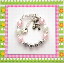 Personalized Baby Bracelet Stroller Carriage Hand Made Gift Any Name/Color/Charm