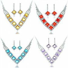 Exquisite Crystal Silver Plated Necklace Earrings Jewelry Set Wedding Women Gift