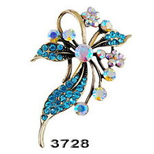 Fashion flower Wedding Party Sparkle Bouquet floral crystal gold brooch pin Gift
