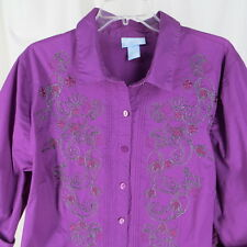 Liz & Me 1X 18/20W Blouse Purple Embroidered Front Career Plus Size