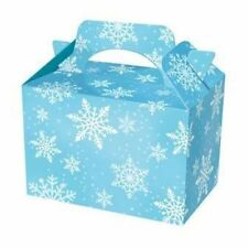 SNOWFLAKE Frozen Food LUNCH Meal BOXES Takeaway Party Xmas Loot Bag Gift Box
