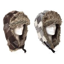 Faux Fur Aviator/Trapper Hat Check With Ear Flap Plugin Buckle