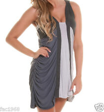 Forever Unique Isra Panel Bodycon Ruched Grey Party Dress Sleeveless UK 8 10 New