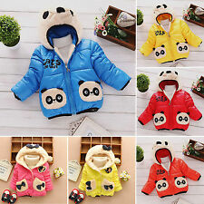 Baby Kids Cartoon Fleece Outerwear Girls Boys Winter Hoodie Snowsuit Jacket Coat
