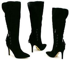NEW WOMENS HIGH STILETTO HEEL ZIP POINTED TOE CALF KNEE HIGH BOOTS SIZE 3 - 8