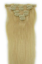 """15""""18""""20""""22"""" Clip In Extensions 100% Remy Human Hair #613 Bleach Blonde 7PCS"""