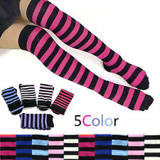 Cute Girl Stripe Stripy Over The Knee Thigh High Stockings Long Cotton Socks