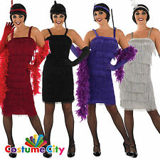 Womens Ladies 1920s Fringed Flapper Roaring 20s Gatsby Party Fancy Dress Costume