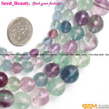 "Natural Fluorite Gemstone Loose Beads Strand 15"" Round Faceted Green & Purple"