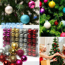 24PCS Christmas Tree Decor Glitter Ball Bauble Hanging Xmas Home Party Ornament