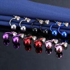Women Dangle Crystal Rhinestone Double Sided Beads Balls Plug Ear Stud Earrings