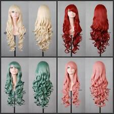Womens Girl Long Wavy Curly Hair Synthetic Cosplay Full Wig Wigs Party 80CM