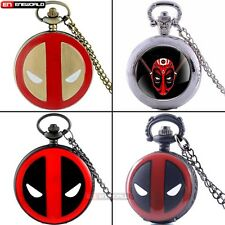 DeadPool theme Quartz Pocket Watch Vintage Necklace Pendant Chain Retro Hot Gift
