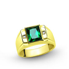 Men's Gold Ring 10k Solid Yellow Gold 3.40ct Emerald and 0.02ct DIAMONDS