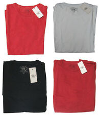 Double Ralph Lauren RRL Mens Solid Vintage Slim Fit Black Red White Tee Shirt