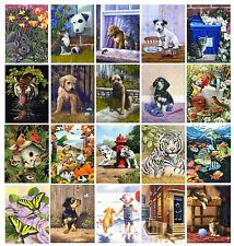 24 SETS TO CHOOSE FROM DOG CAT PUPPY & ANIMAL PAINTINGS A4 PAINT BY NUMBER KITS