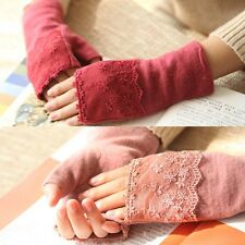 Winter Warm Fashion 100% Wool Knit Gloves Mittens with Lace best gift for Xmas