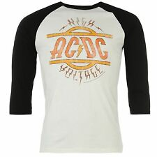 Official Mens ACDC Raglan T Shirt 3/4 Sleeve Crew Neck Tee Top Clothing