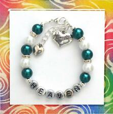 Personalized FLOWER GIRL Family Wedding Charm Bracelet Gift Any Name US Seller