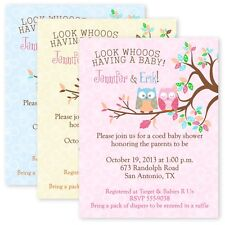 Cardstock Owl Baby Shower Party Invitations Custom Personalized Invitation Owls