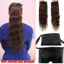 New 100% Remy Human Hair Long Curly Wave Ponytail Pony Clip in Hair Extensions