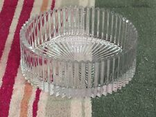 """Used 8.5"""" thick clear round bowl with etched detail"""