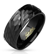 Stainless Steel Men's Black Diagonal Groove Hammered Ring Size 9-13