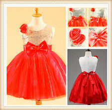 Kids White Reds Sequin Beaded Christmas Party Flower Girls Dresses SIZE 2-10T