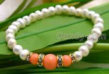 """SALE Beautiful! 6-7mm white Natural Pearl and pink Round Coral 7.5"""" bracelet-291"""