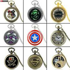 Vintage Stainless Steel Classic Pocket Watch Quartz Pendant Necklace Chain Gift