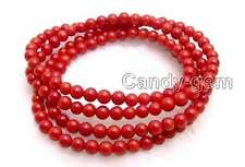 """SALE Long 30""""  Small 5-6mm Round Natural red coral bracelet / Necklace-br298"""
