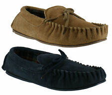 Mens Genuine Real Suede Tartan Lined Moccasins Moccs Slippers Sizes 7 to 12