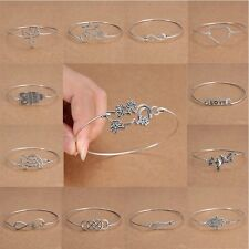 Infinity Silver Cuff Bangle Bracelet Minimalist Charm Jewelry Ladies Retro Gift