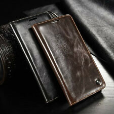Glossy Leather Case Card Holder Magnetic Wallet Cover For Various Mobile Phones