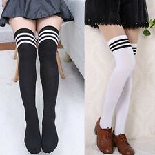 Womens Girls Sexy Thigh High Striped Cotton Socks Sweet Over Knee Stockings