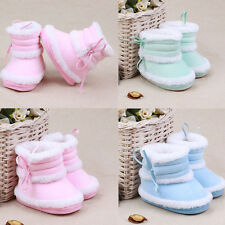 New Baby Care Kids Girls Bowknot Velvet Snow Boots Soft Crib Shoes Toddler Boots