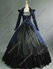 Victorian Edwardian 3-PC Dress Downton Abbey Theater Steampunk Clothing NAVY 167